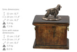 Solid Wood Casket English Springer Spaniel Urn for Dog's ashes,with Dog statue.(67)