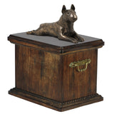 Solid Wood Casket Bull Terrier Lying  Urn for Dog's ashes,with Dog statue.(14) - unique.urns_caskets