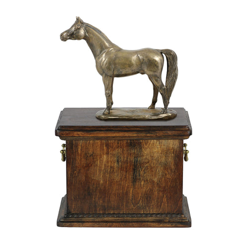 Beautiful solid  wood casket with Bronze Statue - Arabian Horse cremation casket for Horse ashes ( 1) - unique.urns_caskets