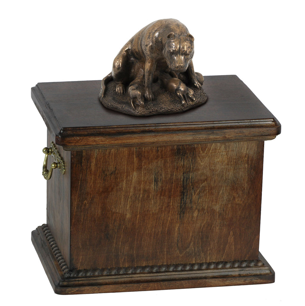 Solid Wood Casket Staffordshire Bull Terrier mom Memorial Urn for Dog's ashes,with Dog statue.(58) - unique.urns_caskets