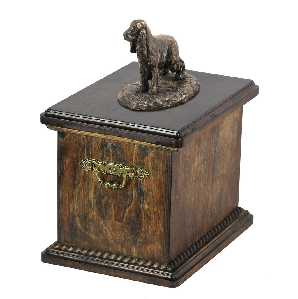 Solid Wood Casket English Cocker Spaniel Urn for Dog's ashes,with Dog statue.(26) - unique.urns_caskets
