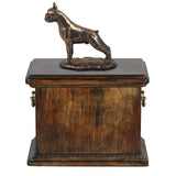 Solid Wood Casket   Boxer croped Memorial Urn for Dog's ashes,with Dog statue.(10) - unique.urns_caskets