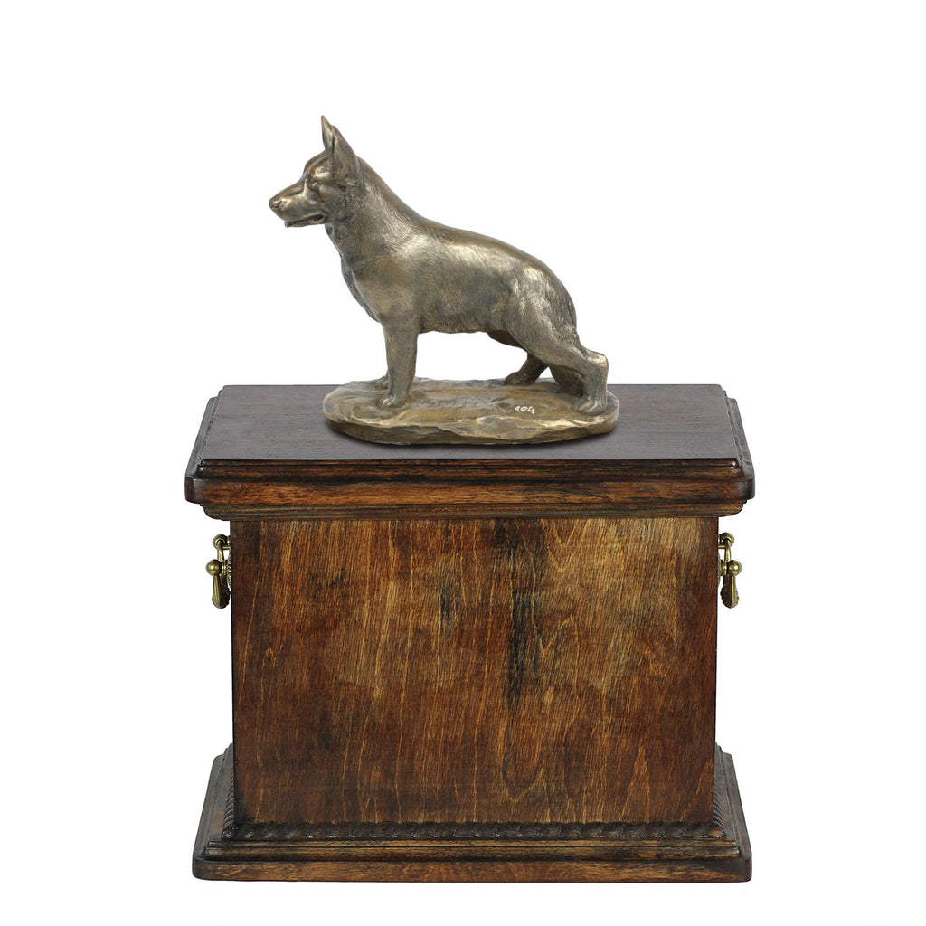 Solid Wood Casket  German Shepherd Dog Urn for Dog's ashes,with Dog statue.(32) - unique.urns_caskets