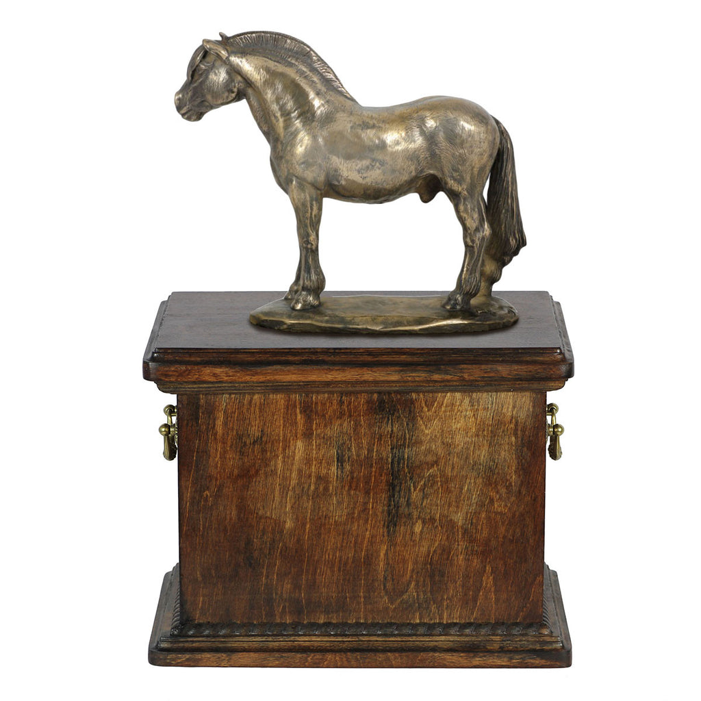 Beautiful solid wood casket with Bronze Statue - Norwegian Fjord Horse cremation casket for Horse ashes (5) - unique.urns_caskets - 1