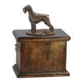Solid Wood Casket Schnauzer uncropped Memorial Urn for Dog's ashes,with Dog statue.(47) - unique.urns_caskets