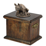 Solid Wood Casket  French Bulldog Mom Urn for Dog's ashes,with Dog statue.(30) - unique.urns_caskets