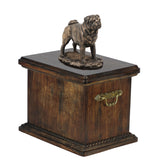 Solid Wood Casket Pug Memorial Urn for Dog's ashes,with Dog statue.(43) - unique.urns_caskets