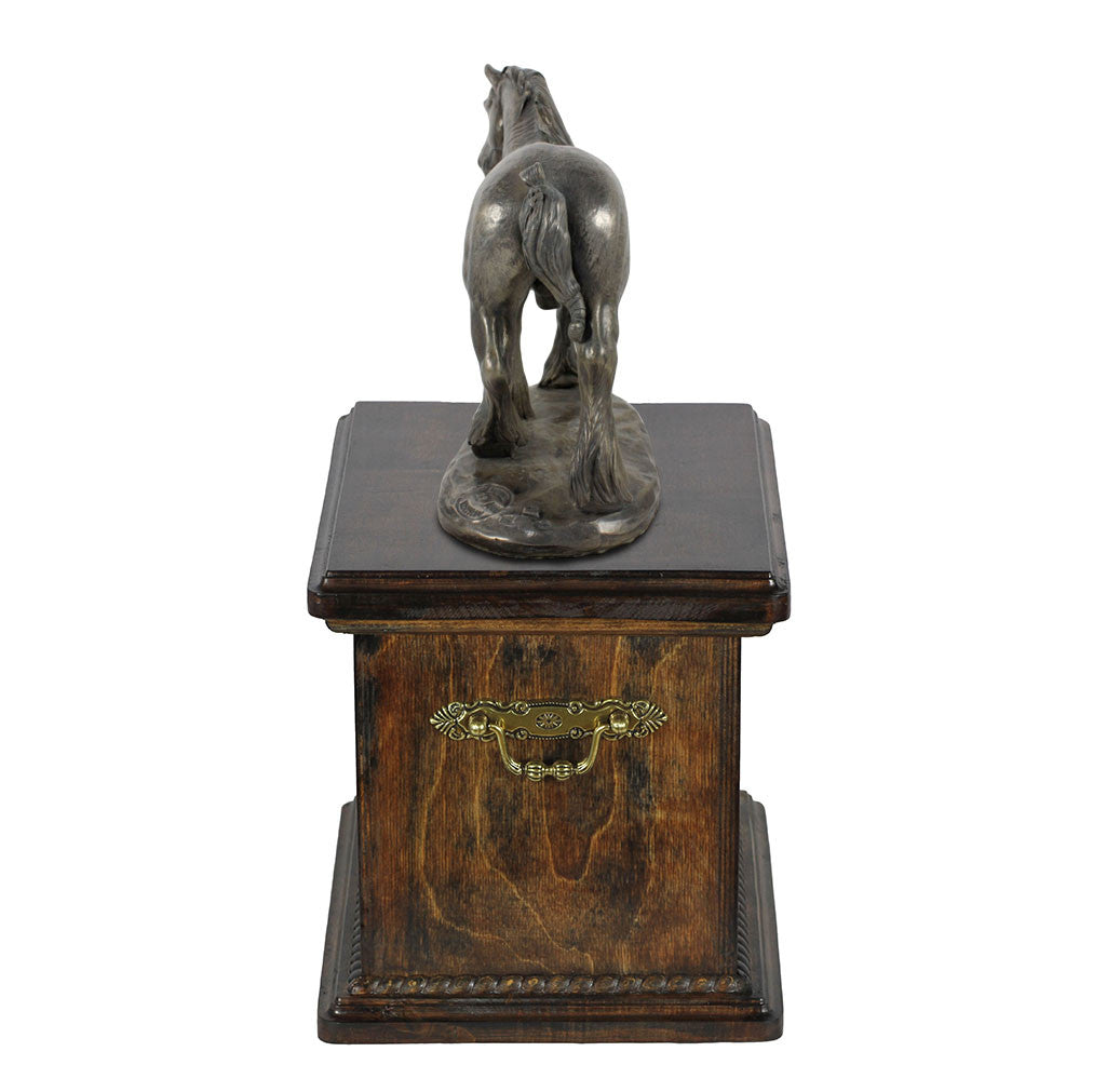 Beautiful solid wood casket with Bronze Statue - Shire  Horse cremation casket for Horse ashes (10) - unique.urns_caskets - 1