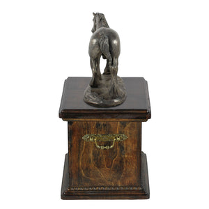 Beautiful solid wood casket with Bronze Statue - Shire  Horse cremation casket for Horse ashes (10) - unique.urns_caskets