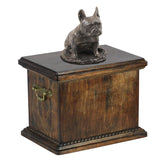 Solid Wood Casket  French Bulldog Sitting Urn for Dog's ashes,with Dog statue.(31) - unique.urns_caskets