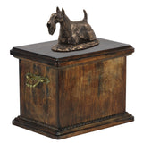 Solid Wood Casket Scottish Terrier Memorial Urn for Dog's ashes,with Dog statue.(48) - unique.urns_caskets