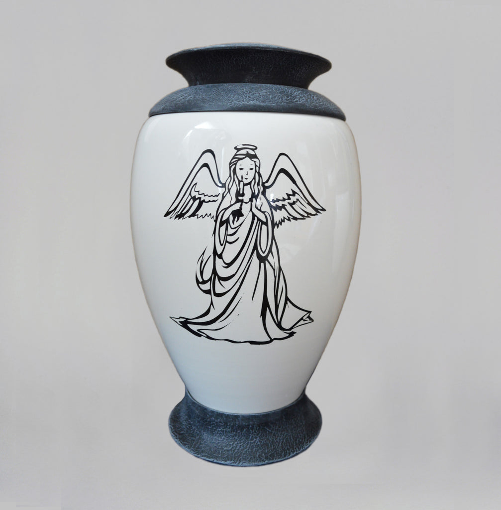 Exclusive Glass Cremation Urn -Angel - White Funeral Urn For Ashes- Custom Engraved  Urn (Art4 Angel)