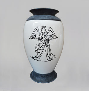 Exclusive Glass Cremation Urn -Angel - White Funeral Urn For Ashes- Custom Engraved  Urn (Art4 Angel) - unique.urns_caskets