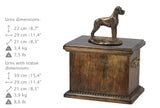 Solid Wood Casket Great Dane uncropped  Memorial Urn for Dog's ashes,with Dog statue , Pet urn (56) - unique.urns_caskets
