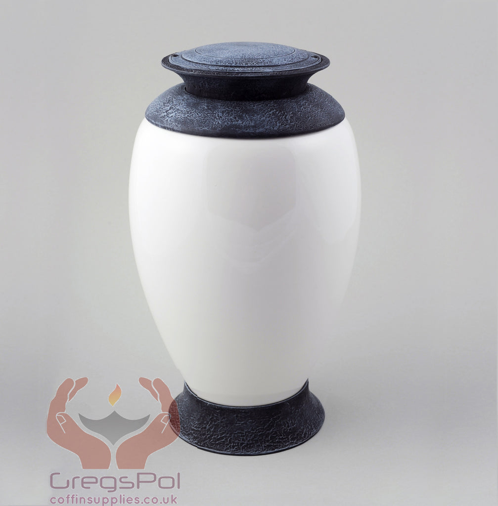 Exclusive Beautiful Glass Cremation Urn- White Funeral Urn For Ashes (Art4) - unique.urns_caskets