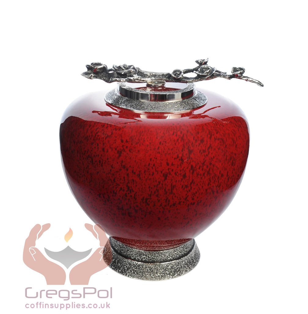Eternal Rose Glass Cremation Urn - Red .Funeral Urn For Ashes ,Memorial Urn (Art6)