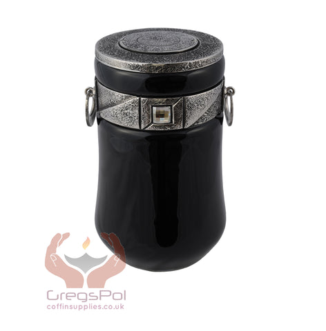 Exclusive Beautiful Glass Cremation Urn-Black with Swarovski Crystal Funeral Urn For Adult (ART9) - unique.urns_caskets