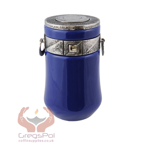 Exclusive Beautiful Glass Cremation Urn- Blue with Swarovski Crystal Funeral Urn for Adult (ART9)
