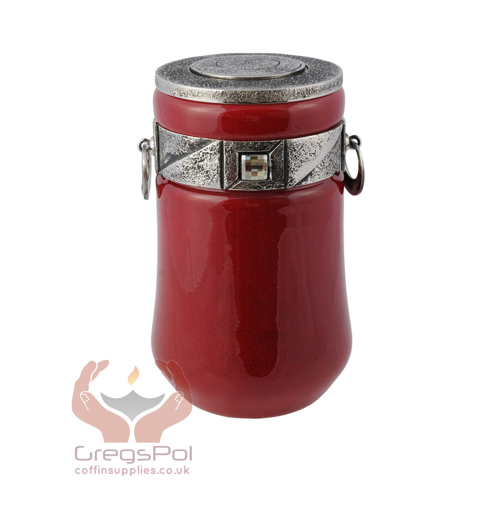 Red glass Cremation urn for ashes