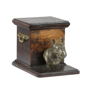 Beautiful  wood casket cremation urn for dog's ashes with Bull Terrier statue (25) - unique.urns_caskets