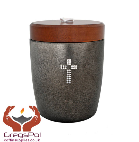 Exclusive beautiful Ceramic Cremation Ashes Urn with Cross Swarovski Crystals  (CD1)