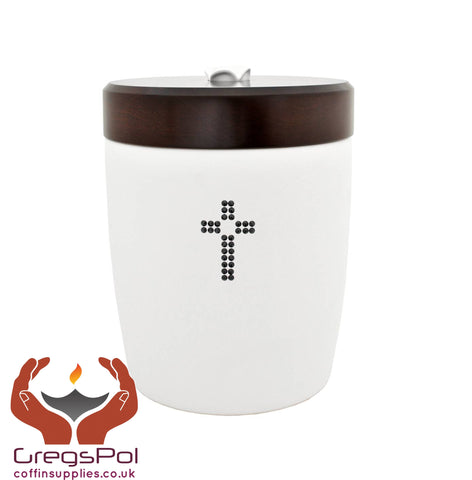 Exclusive beautiful Ceramic Cremation Ashes Urn with Cross Swarovski Crystals  (CD2)
