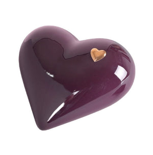 Elegant Heart shaped Ceramic Cremation urn for ashes. Unique memorial funeral Urn Burgundy  (CS4) - unique.urns_caskets