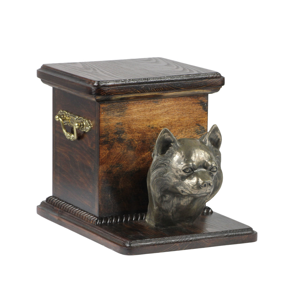 Pet urn for ashes , dog ashes box Chihuahua (long haired) Cremation urn