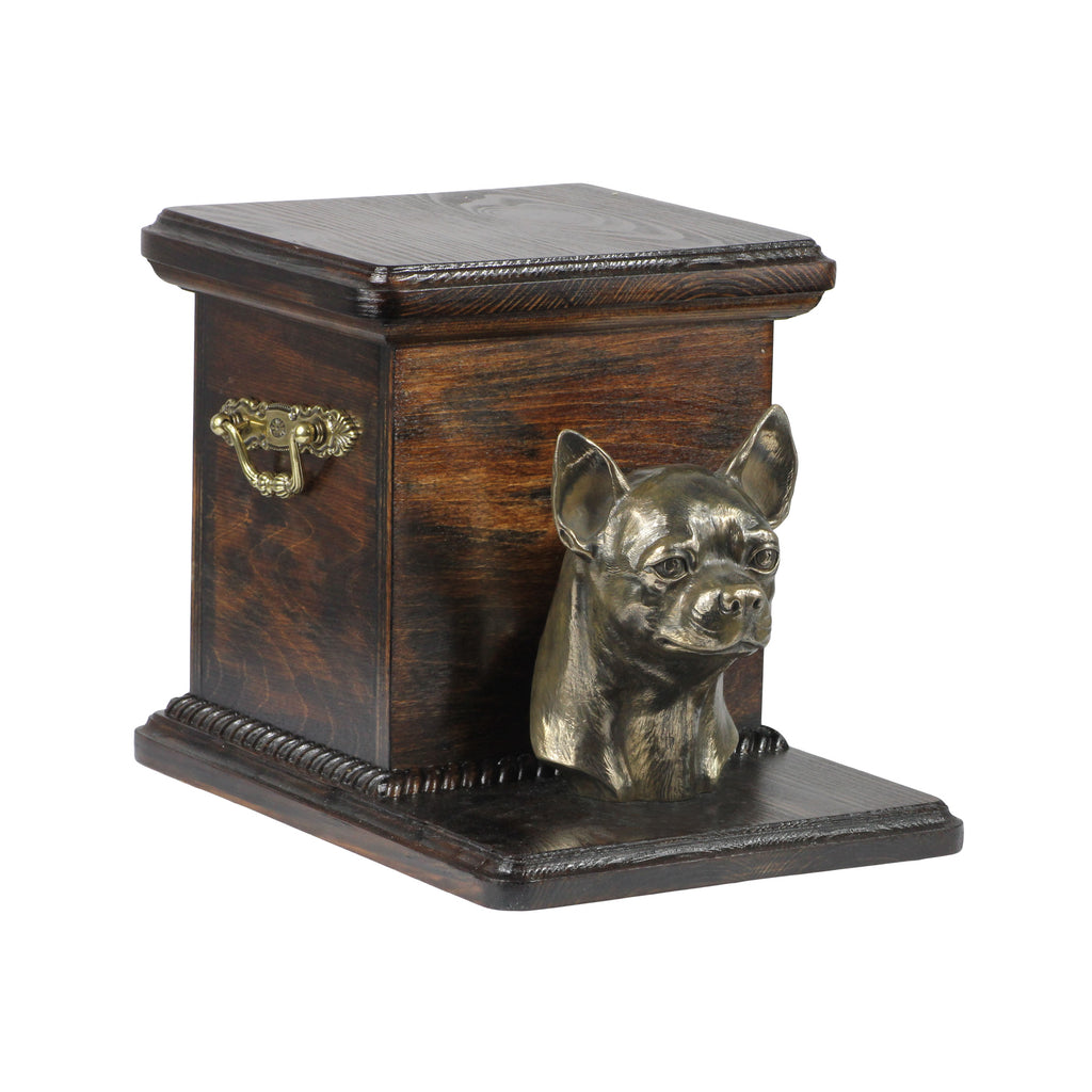Beautiful solid wood casket cremation urn for dog's ashes with Chihuahua (31)