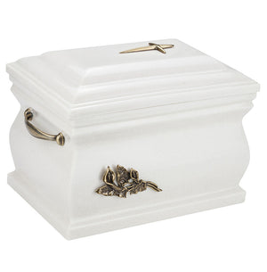 Composite Casket Cremation Ashes Urn For Adult With Brass Calla Lily.Funeral Urn For Adult(UK88V) - unique.urns_caskets