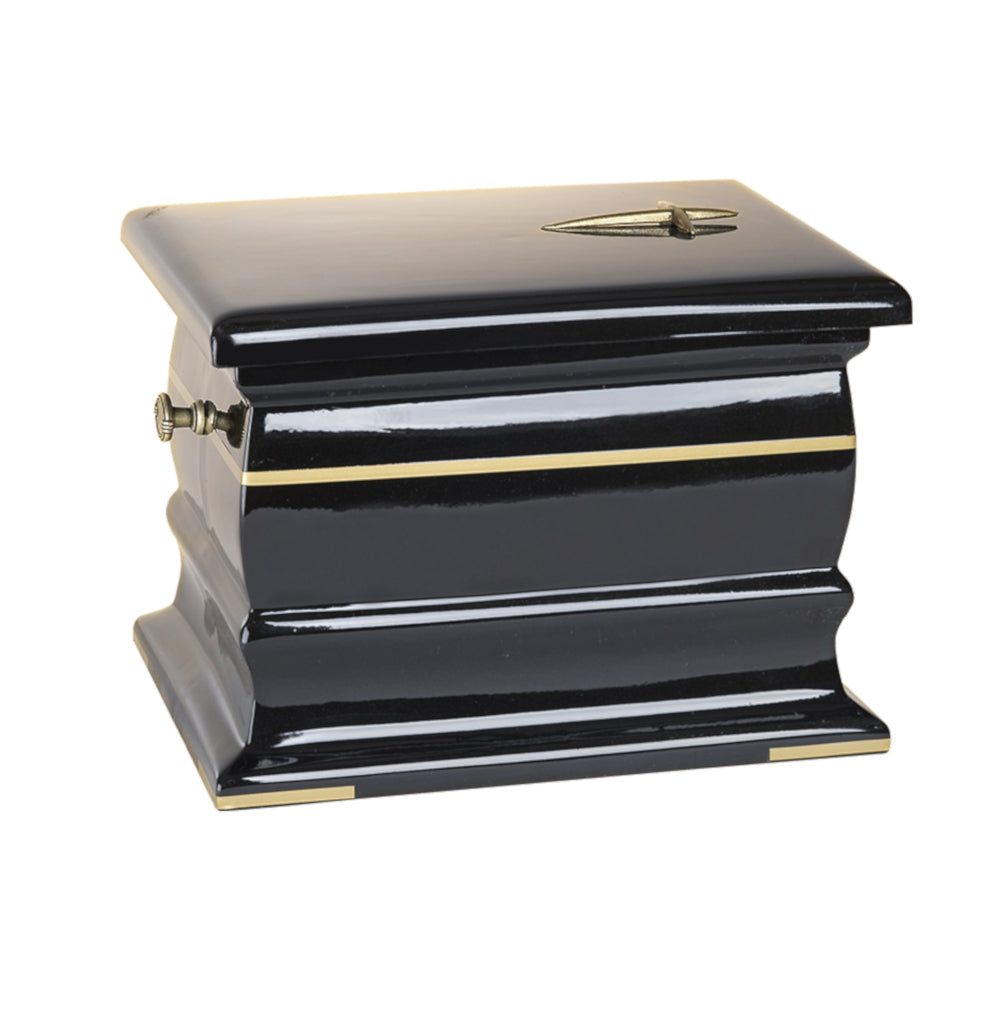 Composite Casket Cremation Ashes Urn For Adult Decorated with Gold Band (UK41) - unique.urns_caskets