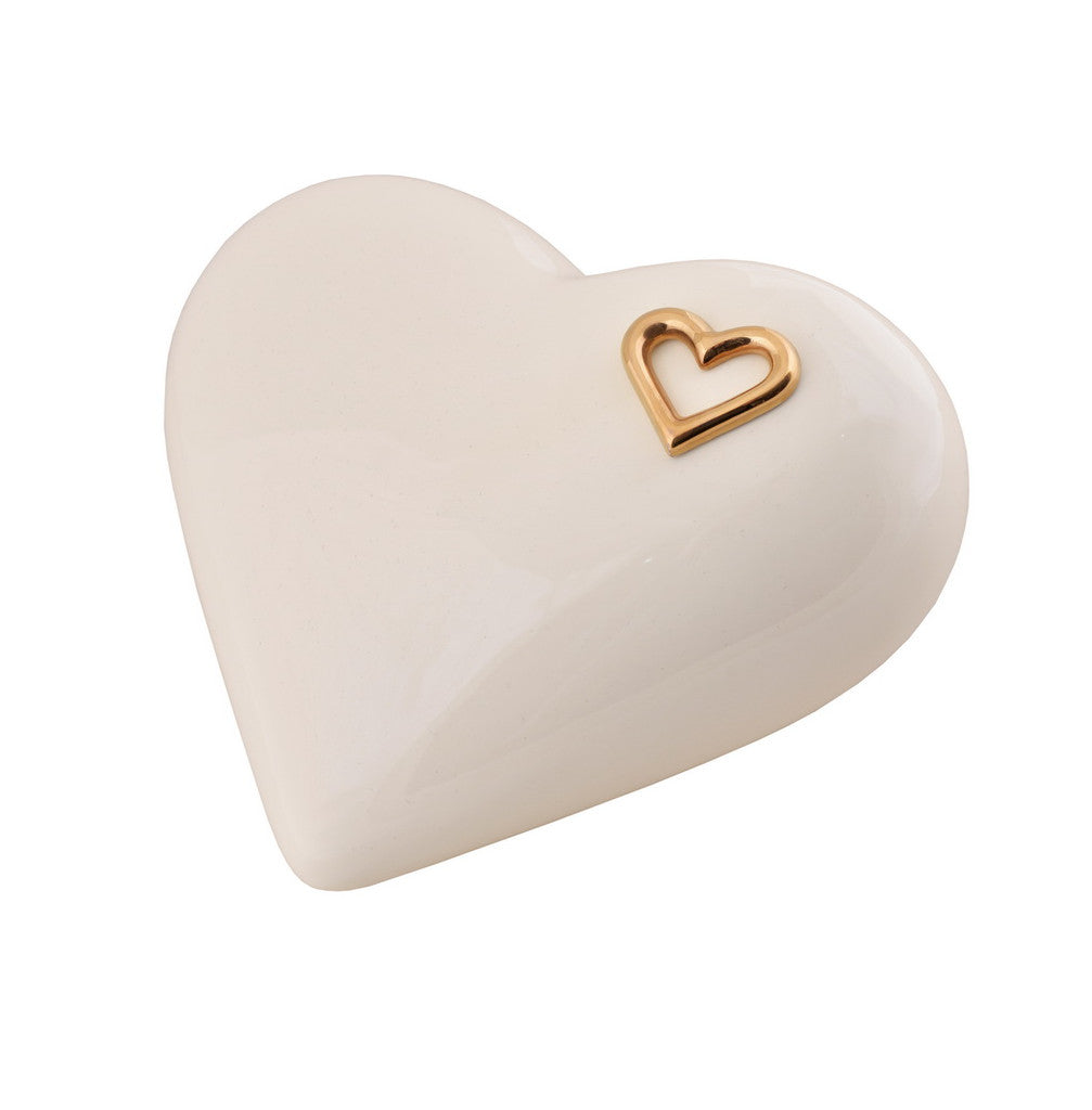 Elegant Heart shaped Ceramic Cremation urn for ashes. Unique memorial funeral Urn Ecru (CS3) - unique.urns_caskets