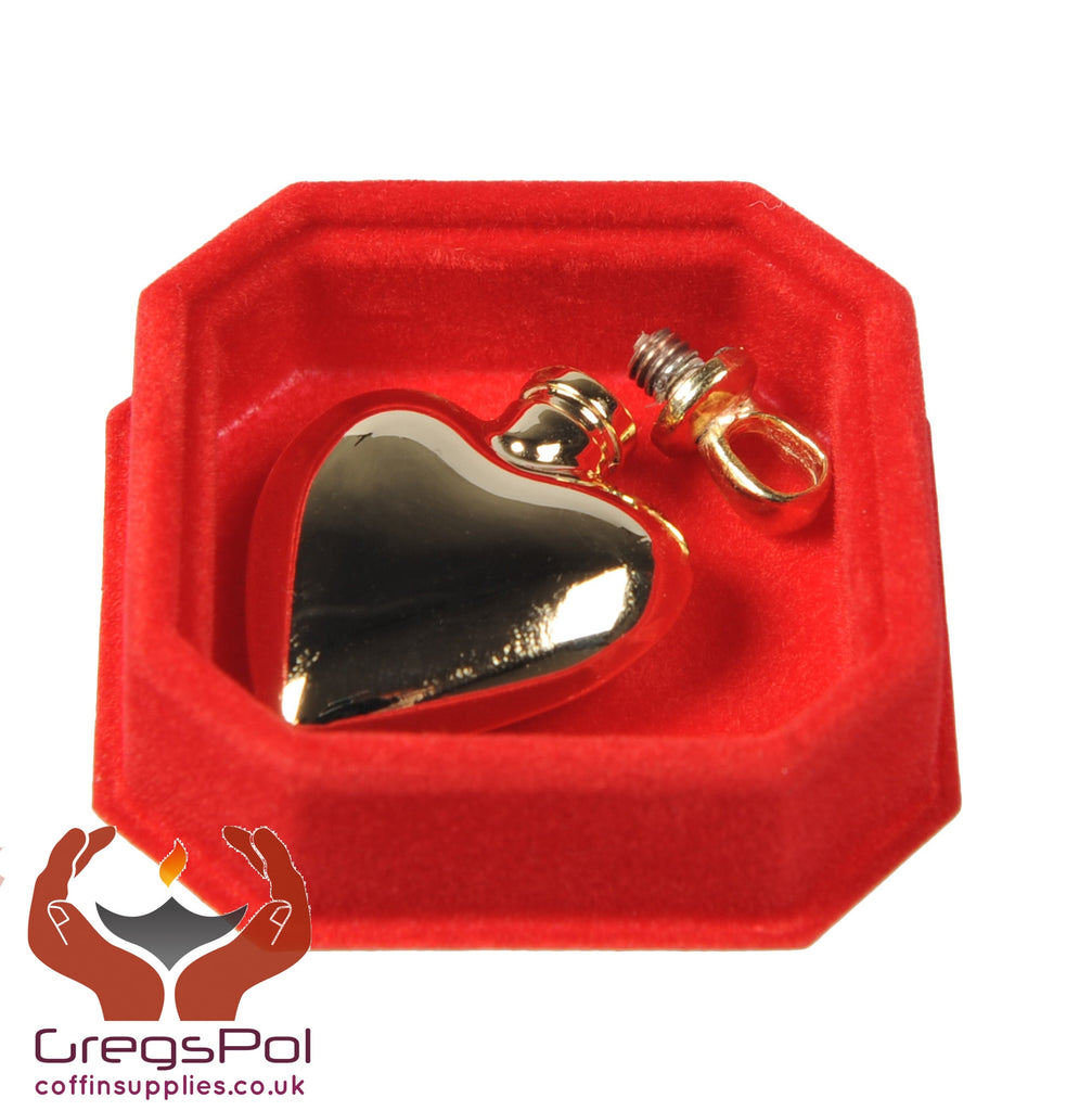 Beautiful Polished Gold Plated Heart Pendant Keepsake Locked Ashes Jewellery - unique.urns_caskets