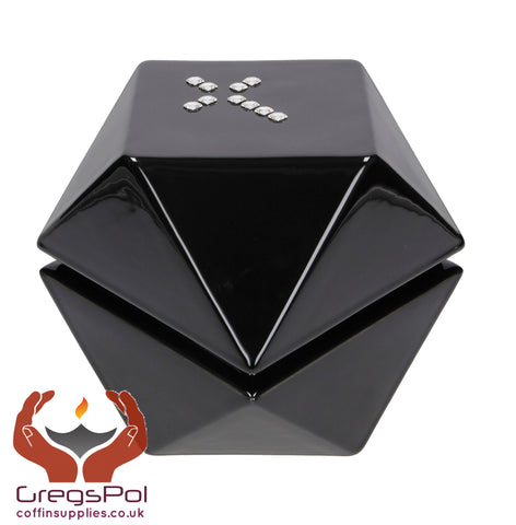 Origami Modern Designer Cremation Urn for Adult Ashes Hihg Quality Funeral urn Black - unique.urns_caskets