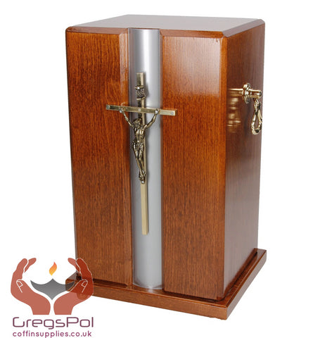 Beautiful Mahogany Wood Casket with Gold Cross and Handles Funeral Ashes Urn (Dn67)