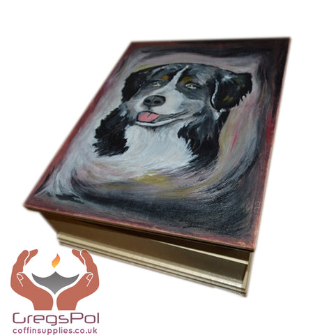 Unique Custom Wood Casket Memorial Urn for Dog's ashesHand painted made to order Pet casket - unique.urns_caskets - 1