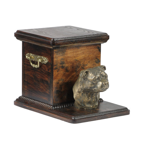 Beautiful  wood casket cremation  urn for dog's ashes with  standing statue English Staffordshire Terrier (45) - unique.urns_caskets