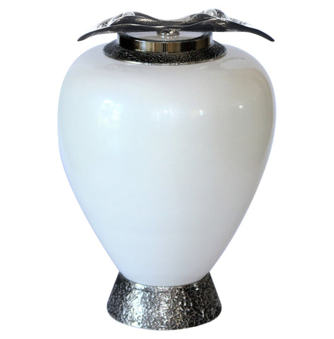 Exclusive White Pearls Glass Cremation Urn For Child Funeral Urn For Ashes (Art7) - unique.urns_caskets