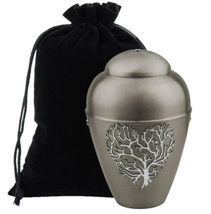 Beautiful Silver Metal Cremation Urn for Ashes,Funeral Urn for Adult (Heart 3D) Art29 - unique.urns_caskets