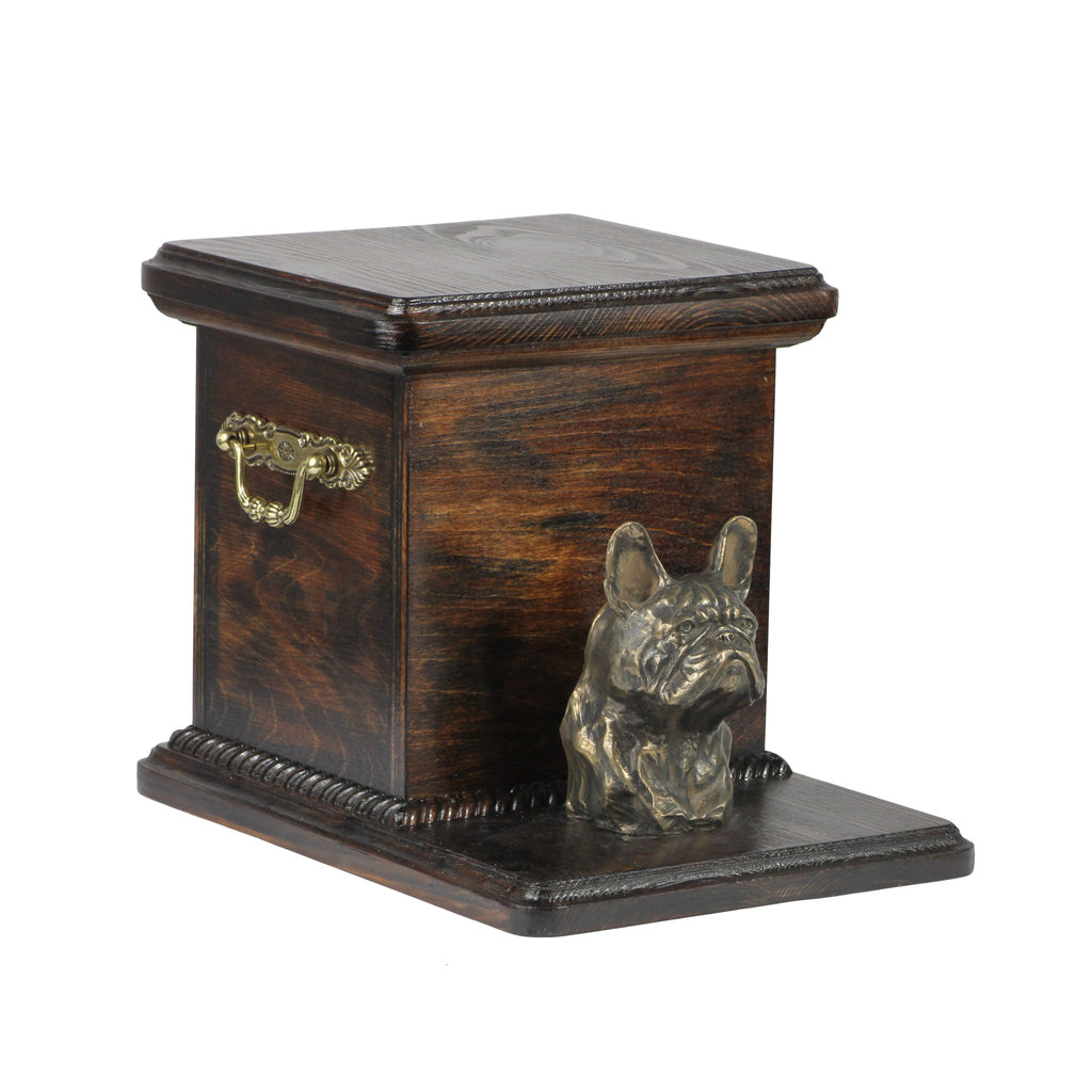 Beautiful solid wood casket cremation urn for dog's ashes with dog statue French Bulldog (49) - unique.urns_caskets