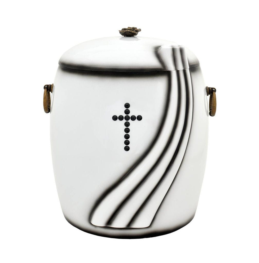 White Composite Cremation Ashes Urn with Black Cross Swarovski Crystals (UK100)