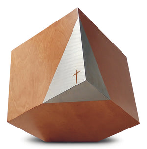 Modern Cremation Urn , Artistic memorial, geometric adult funeral urn with cross. (Art31) - unique.urns_caskets
