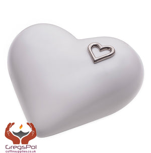 Elegant Heart shaped Ceramic Cremation urn for ashes. Unique memorial funeral Urn (CS2) - unique.urns_caskets
