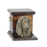 Beautiful  wood casket cremation  urn for dog's ashes with  standing statue  Afghan Hound (1)
