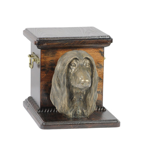 Beautiful  wood casket cremation  urn for dog's ashes with  standing statue  Afghan Hound (1) - unique.urns_caskets