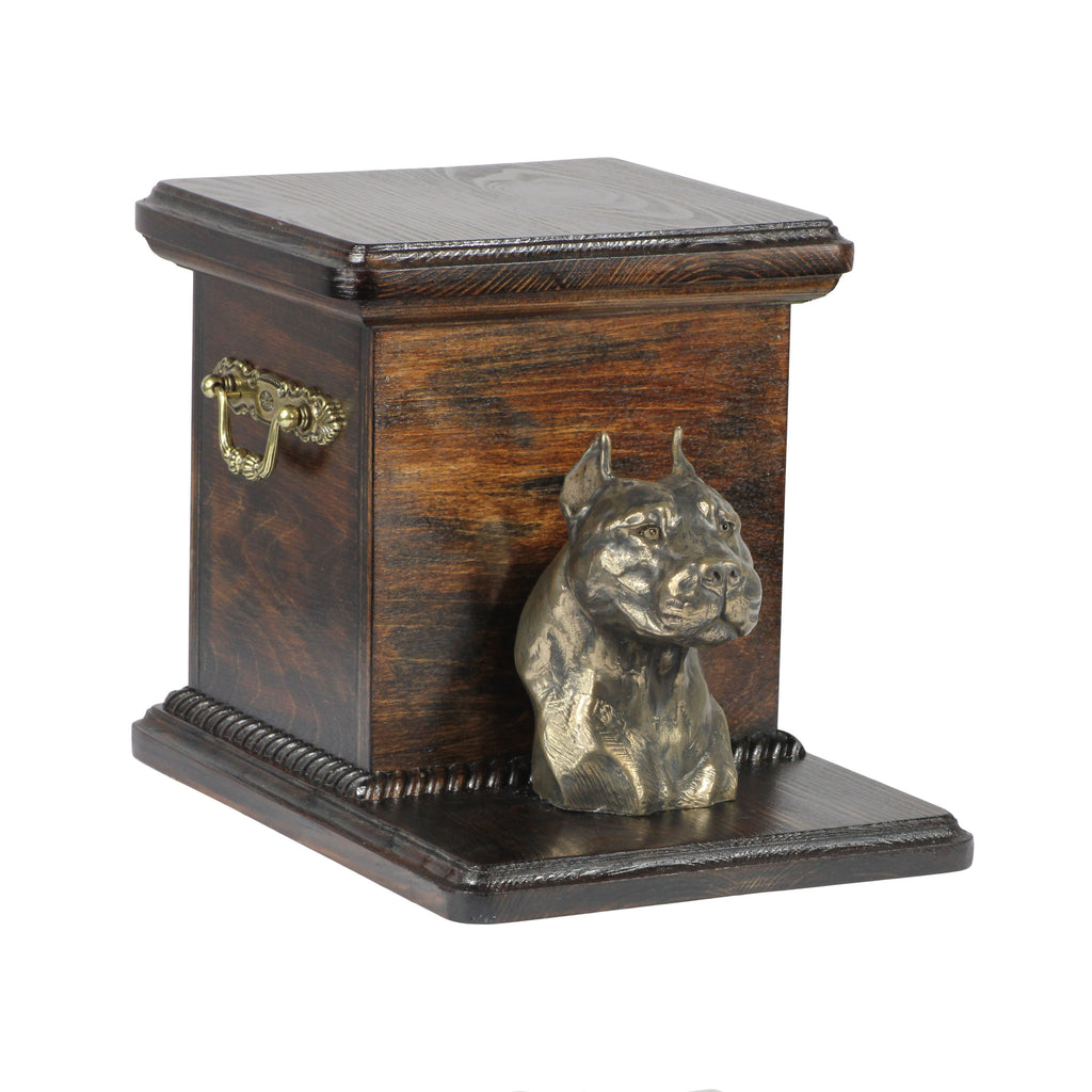 Beautiful  wood casket cremation  urn for dog's ashes with  standing statue American Staffordshire Terrier (5)