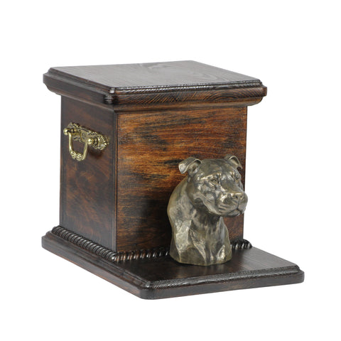 Beautiful  wood casket cremation  urn for dog's ashes with  standing statue American Staffordshire Terrier (6) - unique.urns_caskets