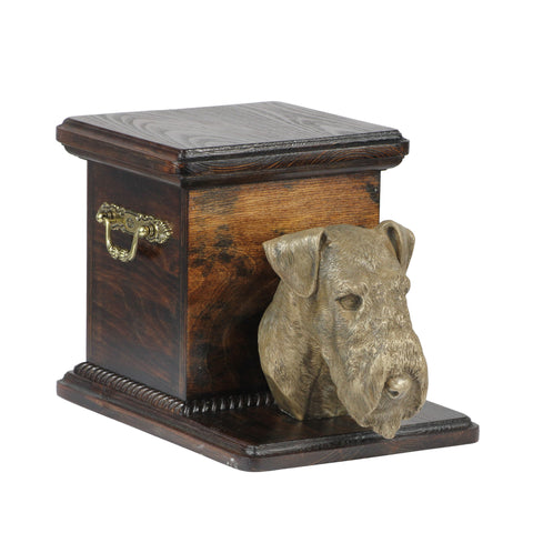 Beautiful  wood casket cremation  urn for dog's ashes with  standing statue Airedale Terrier (2)