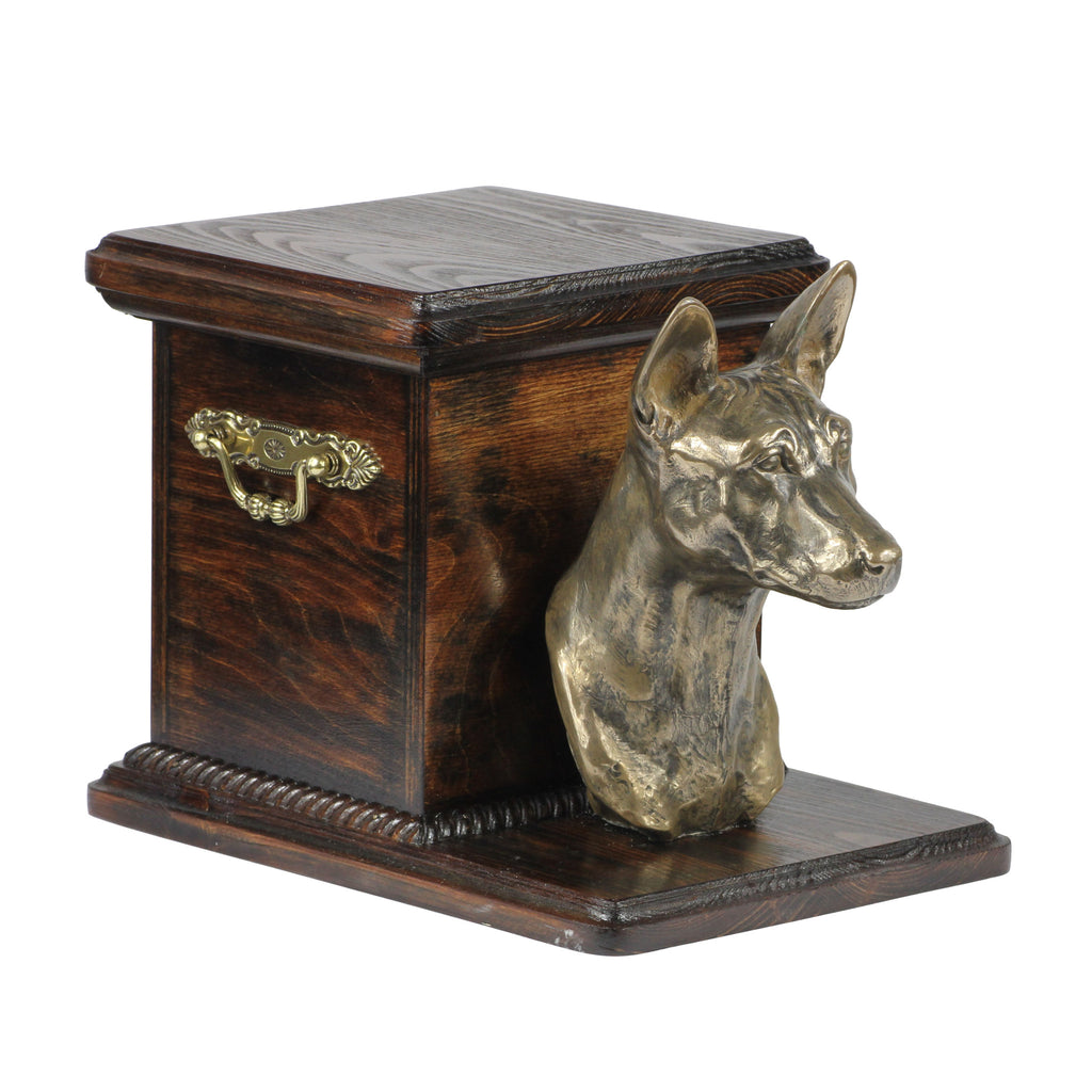 Beautiful  wood casket cremation  urn for dog's ashes with  standing statue Basenji (8)