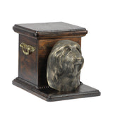 Beautiful  wood casket cremation  urn for dog's ashes with  standing statue Bearded Collie (12)